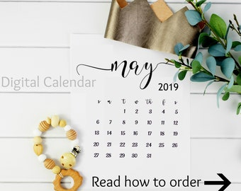 Digital Pregnancy Calendar / May 2019 Instant Pregnancy Calendar