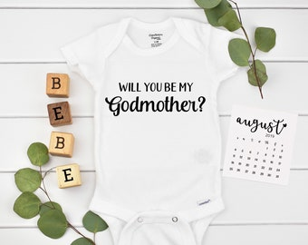 Will you be my Godmother  Onesie / Godmother Gift / Ask Godfather