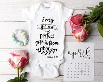 Onesie Christian verse James 1 17 / Baby Announcement / Bodysuit / Baby Reveal