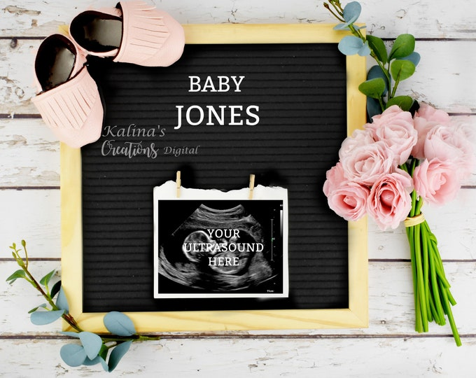 Digital Pregnancy announcement for  Social Media with Letter Board