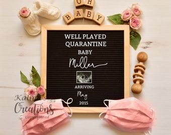 Quarantine Pregnancy Announcement Digital - Baby Girl Gender Reveal - Reserved Custom