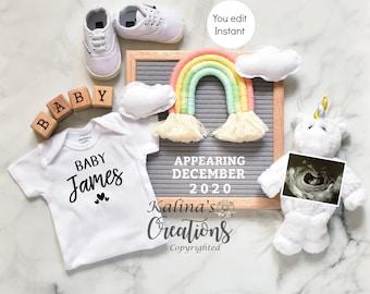 Rainbow unicorn Pregnancy Announcement for Social Media Announce Template
