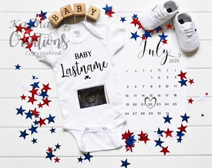 4th of July Baby / Patriotic Pregnancy Announcement for Social Media Announce