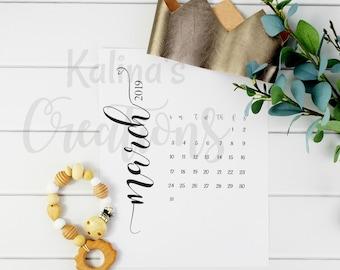 Digital Pregnancy Calendar / March 2019 Pregnancy Calendar Instant Download / pregnancy calendar / Photo Announcement / due date calendar