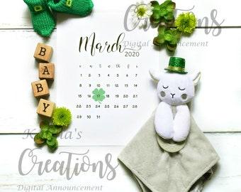 March 2020 Calendar for Pregnancy Announcement
