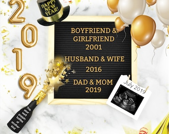 Digital New Years Baby Announcement for your Social Media with Letter Board