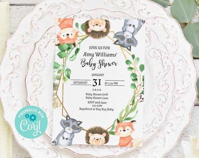 Woodland Animals Baby Shower Invite