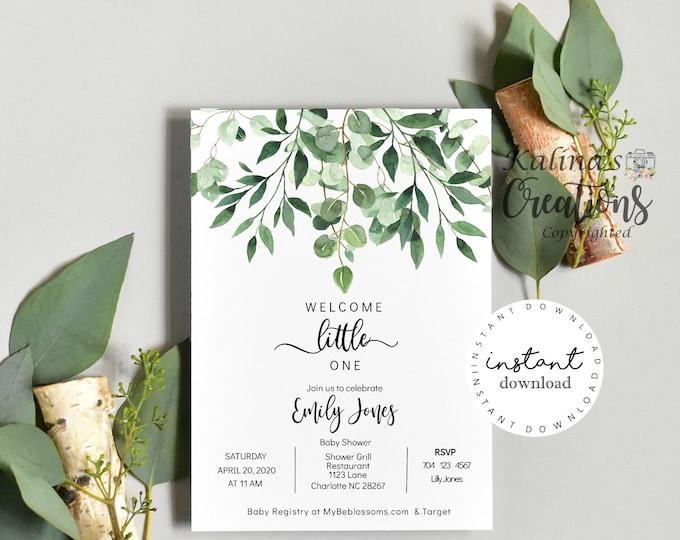 Greenery Baby Shower Invitation, Baby shower invitation template, KC14