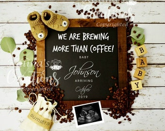 A Baby is Brewing Pregnancy Announcement for Social Media - Digital