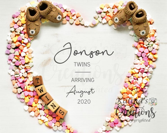 Valentines Twins Pregnancy Announcement for Social Media Announce