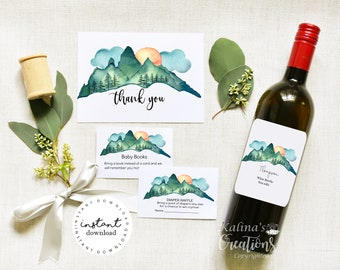 Baby Shower Bundle, Adventure Baby Shower with Wine Bottle Lable, KC18