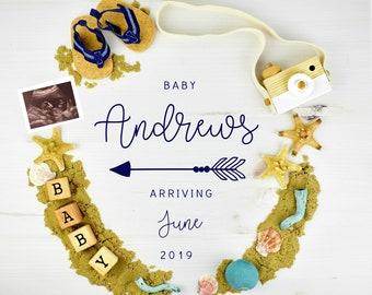 Digital Nautical Baby Announcement Grandparent for Social Media