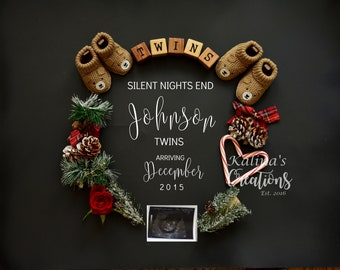Christmas Twin Pregnancy Announcement for Social Media Announce