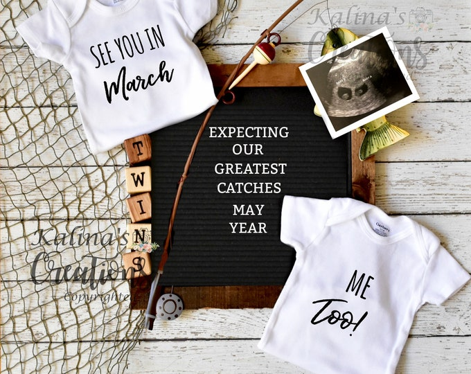 Fishing Twins Pregnancy Announcement for Social Media Announce