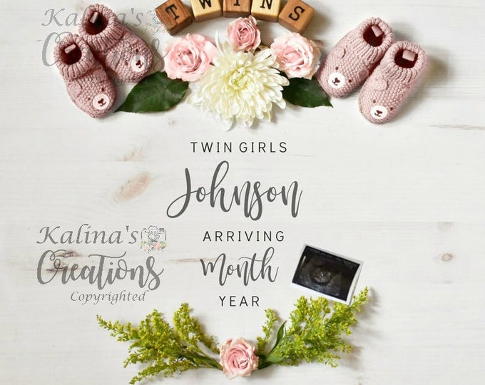 Twin Girls Pregnancy Announcement for Social Media Announce