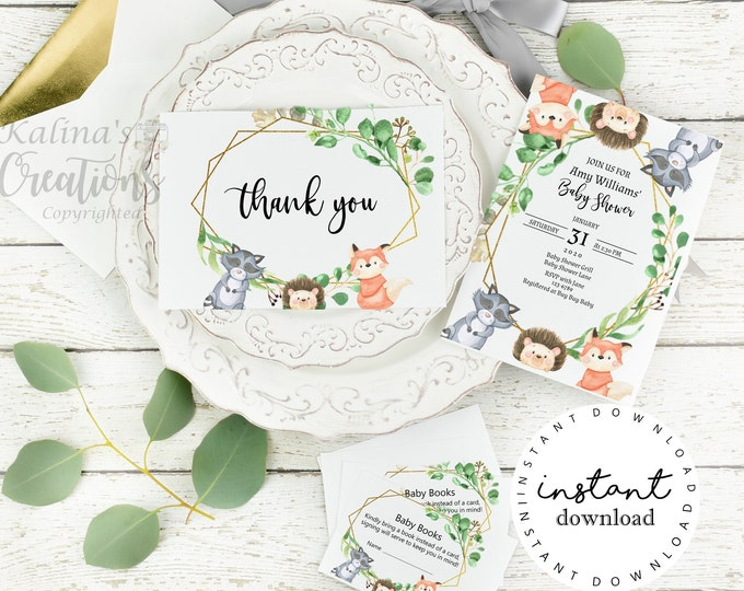 Woodland Animals Baby Shower Kit Thank you Cards, Diaper Raffle Cards & Baby Books Cards