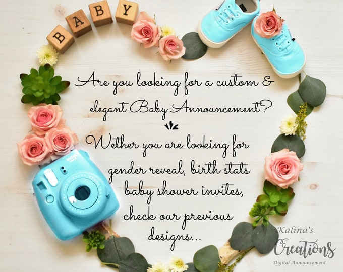 Featured listing image: Custom Digital Pregnancy Announcement for Social Media