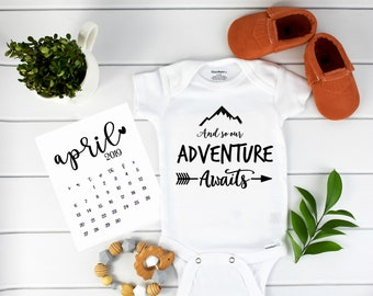 Adventure Awaits Onesie / Adventure Awaits / baby announcement / Pregnancy Reveal Adventure Onesie
