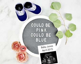 Digital Letter Board Pregnancy Reveal for Social Media
