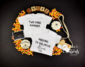 Halloween Twins Baby Announcement for Social Media
