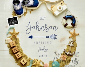 Digital Nautical Pregnancy Announcement  for Social Media or printable