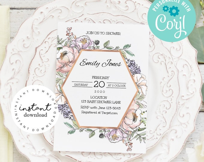 Pink Roses and Wild Flower Baby Shower Invite - baby shower invitation template