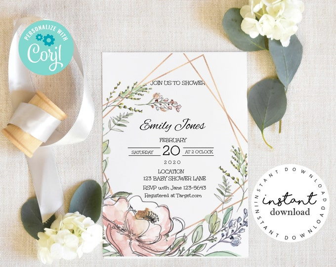 Pink Roses Wild Flowers Invitation, baby shower invitation template