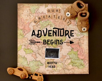World Map Adventure Baby Announcement for social media