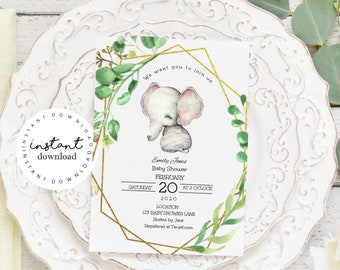 Greenery Elephant Boho Baby Shower Invitation