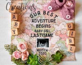 World Map Adventure Girl Gender Reveal for Social Media Announce Template