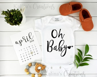 Oh Baby Onesie / Baby Announcement / personalized / Pregnancy calendar / Pregnancy announcement Onesie / Going home onesie / keepsake onesie