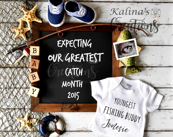 Fishing Buddy Pregnancy Announcement for Social Media Announce