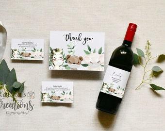 Cute Quarantine Baby Shower Bundle  - Wine Label, KC12, baby shower invitation template