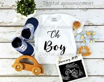Custom Digital Gender Baby Boy Announcement