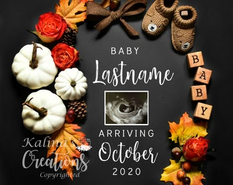 November 2020 Thanksgiving Pregnancy Announcement for Social Media Announce