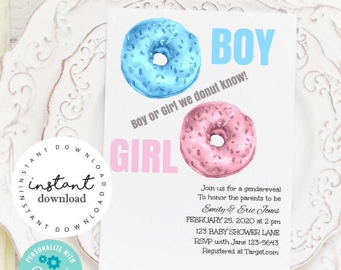 Donut Gender Reveal Party Invite -   baby shower invitation template