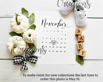 November 2019 Calendar Photo Announcement & Pregnancy Template for social media