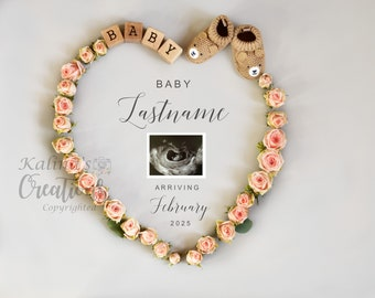 Valentines Roses Pregnancy Announcement for Social Media Announce