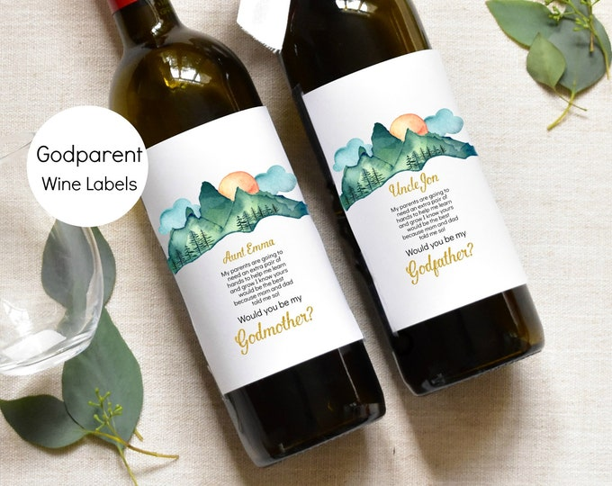 Adventure Godmother Wine Label - Godparents Wine Label Pregnancy Announcement, KC18