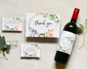 Woodland Animals Baby Shower Bundle  - With Wine Label Editable, KC15