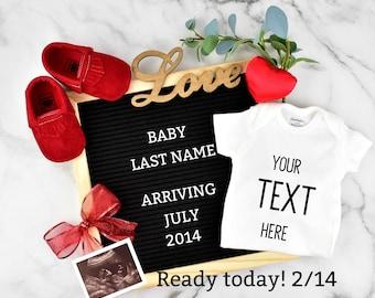 Valentines Custom Pregnancy Announcement for Social Media
