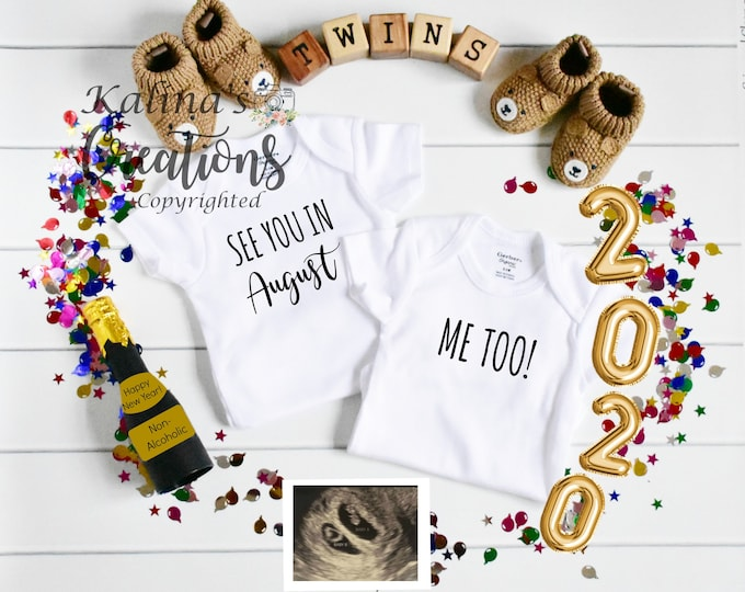 New Years 2020 Twin Pregnancy Announcement for Social Media Announce