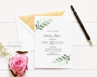 Greenery Baby Shower Invitation, baby shower invitation template