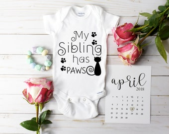 Paws Onesie /My Sibling Has Paws Bodysuit / Baby Announcement / Baby Reveal