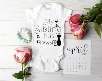 My Sibling Has Paws Onesie / Baby Announcement Onesie