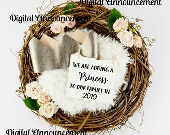 Social Media Announcement / Girl Gender Digital Reveal / girl gender reveal / Digital Print / Photo Announcement / grandparents to be