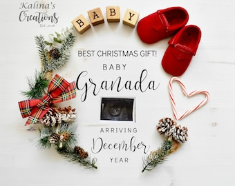 Christmas Pregnancy Announcement for Social Media Announce