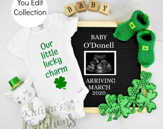 Template St Patrick's Day Pregnancy Announcement for Social Media Announce