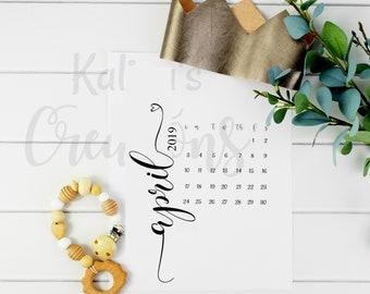 Digital Pregnancy Calendar / April 2019 Pregnancy Calendar Instant Download