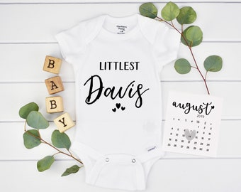 Personalized Littlest Onesie for Pregnancy Reveal